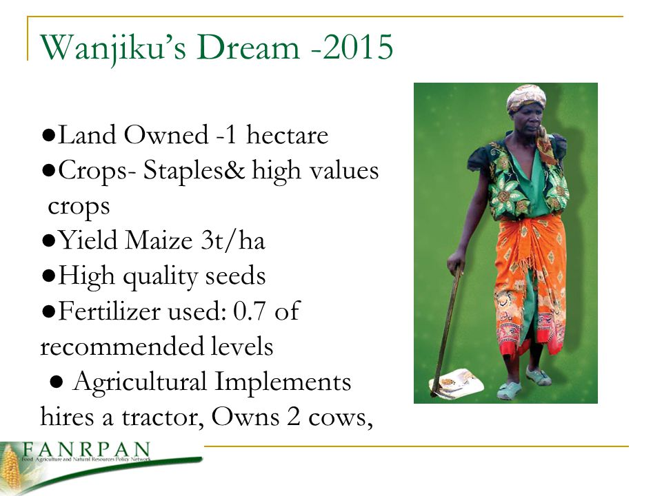 Wanjikus Dream -2015 Land Owned -1 hectare Crops- Staples& high values crops Yield Maize 3t/ha High quality seeds Fertilizer used: 0.7 of recommended levels Agricultural Implements hires a tractor, Owns 2 cows, 5 goats