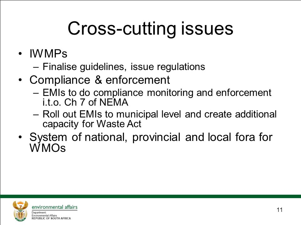 11 Cross-cutting issues IWMPs –Finalise guidelines, issue regulations Compliance & enforcement –EMIs to do compliance monitoring and enforcement i.t.o.
