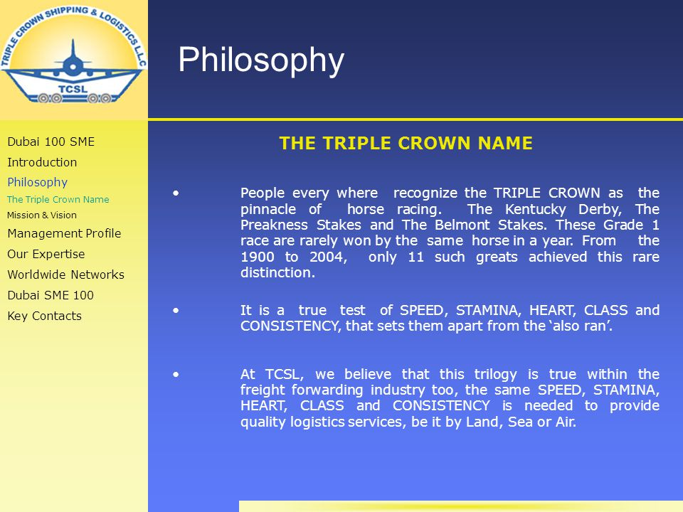 Philosophy THE TRIPLE CROWN NAME People every where recognize the TRIPLE CROWN as the pinnacle of horse racing.