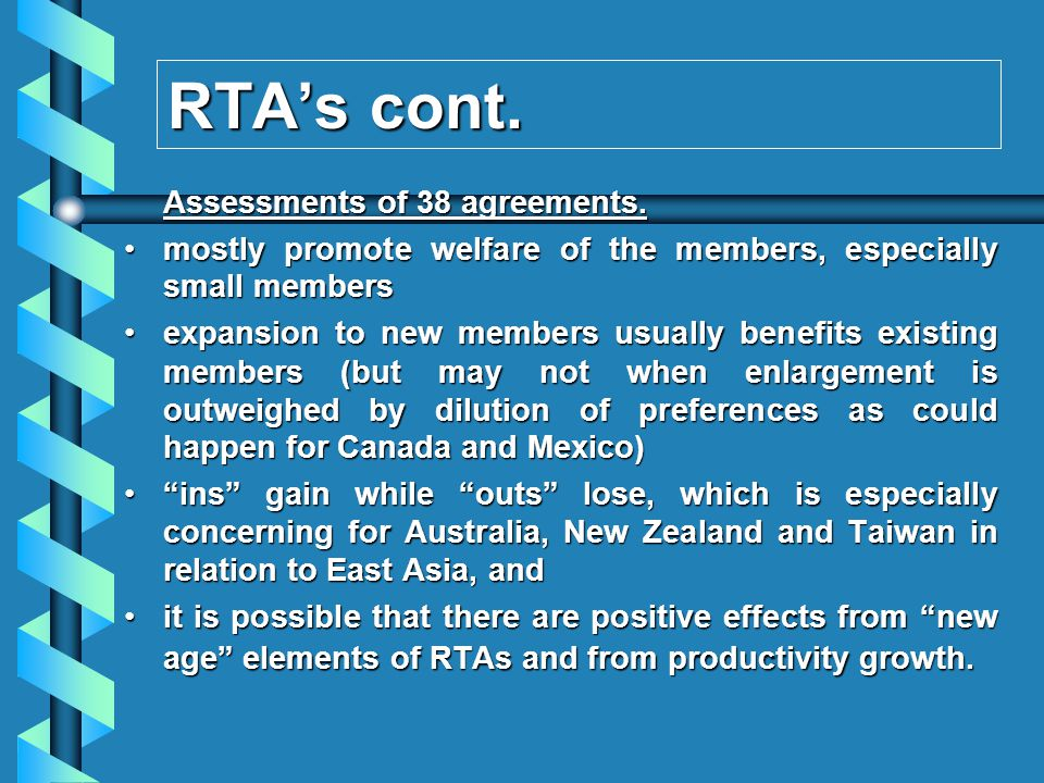 RTAs cont. Assessments of 38 agreements.
