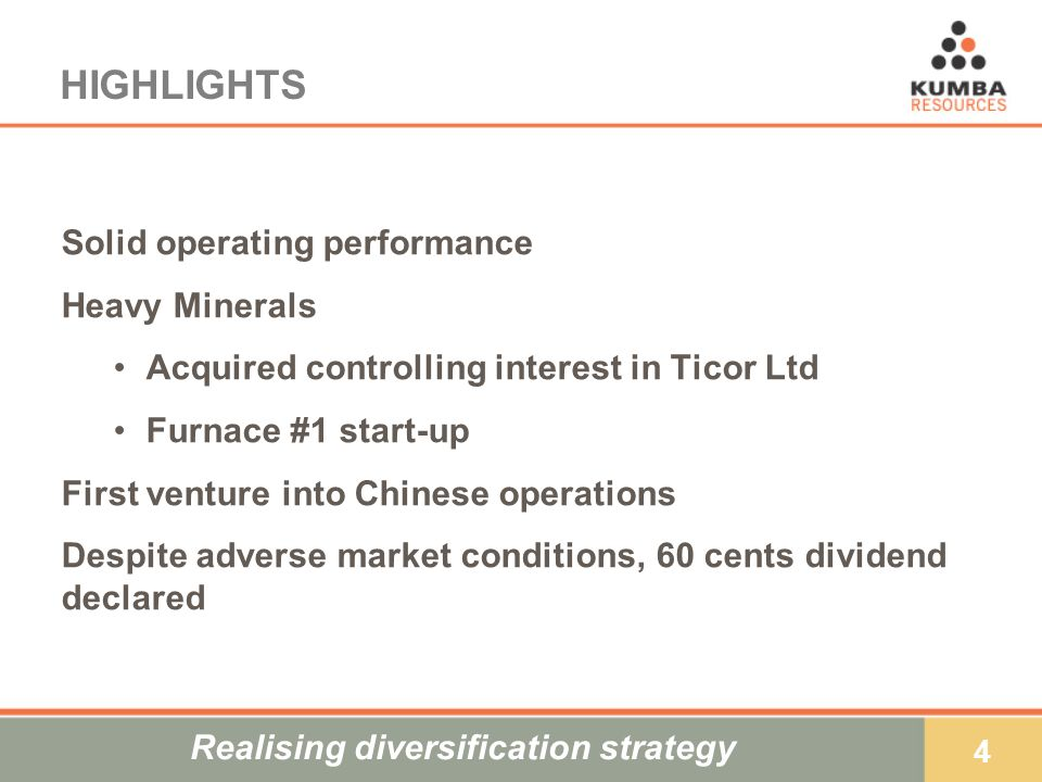 35 OUTLOOK Business climate remains challenging Strong Rand environment Pedestrian global growth High oil prices Continued domestic cost pressures Given these assumptions, earnings are likely to be adversely affected But, earnings will be underpinned by: Solid operational performance Higher iron ore prices Growing contribution from heavy minerals Continued strong focus on cost and operating efficiencies
