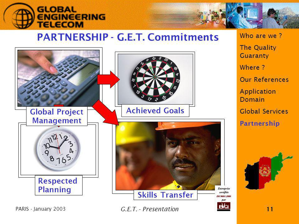 PARIS - January 2003 G.E.T. - Presentation11 Who are we ? The Quality Guaranty Where ? Our References Application Domain Global Services Partnership S