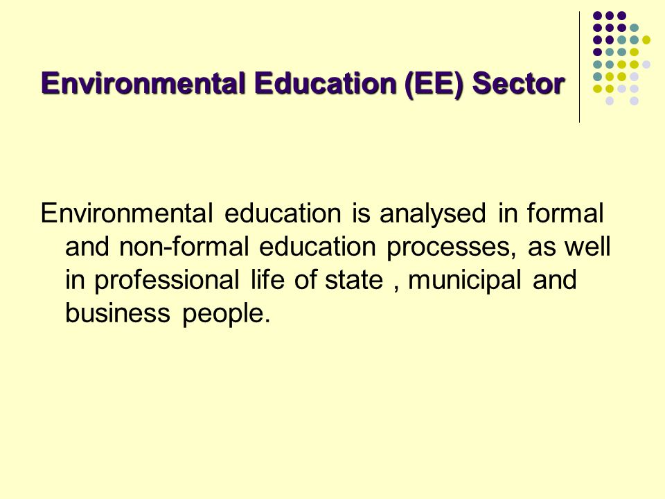 Environmental Education (EE) Sector Environmental education is analysed in formal and non-formal education processes, as well in professional life of
