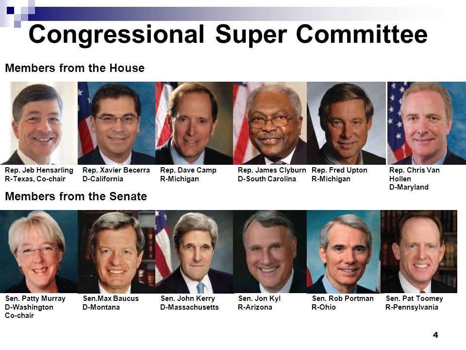 Congressional Super Committee 4 Members from the House Members from the Senate Rep.