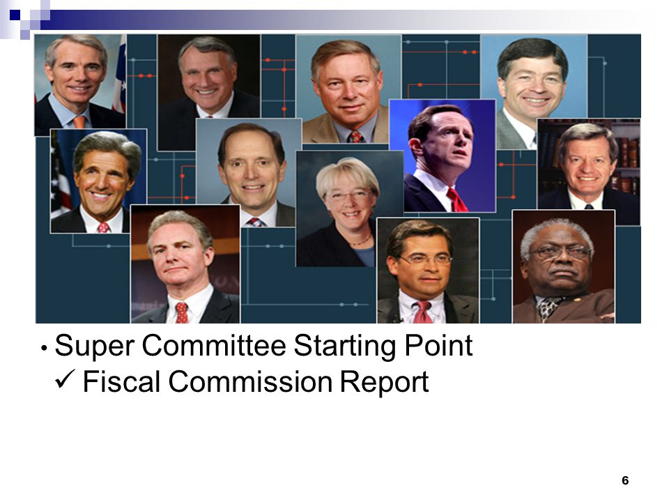 5 Super Committee: Created by debt-limit compromise law Equally divided between Rs & Ds Required to pass bill to cut deficit by $1.5 trillion Through spending cuts or revenue increases Once approved, immediate House & Senate consideration Up or down vote, no amendments allowed.