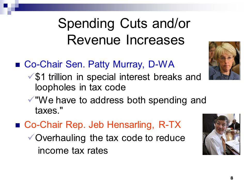 8 Spending Cuts and/or Revenue Increases Co-Chair Sen.