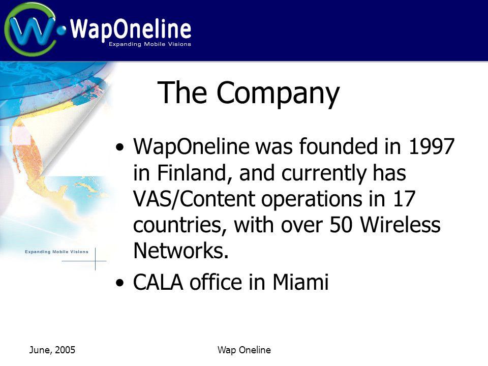 June, 2005Wap Oneline Wireless VAS Evolution Level Two: WAP Capabilities Polyphonic Ringtones Real Tones Color Wallpapers Color Logos WAP Sites JAVA Games Click here Click for next sound