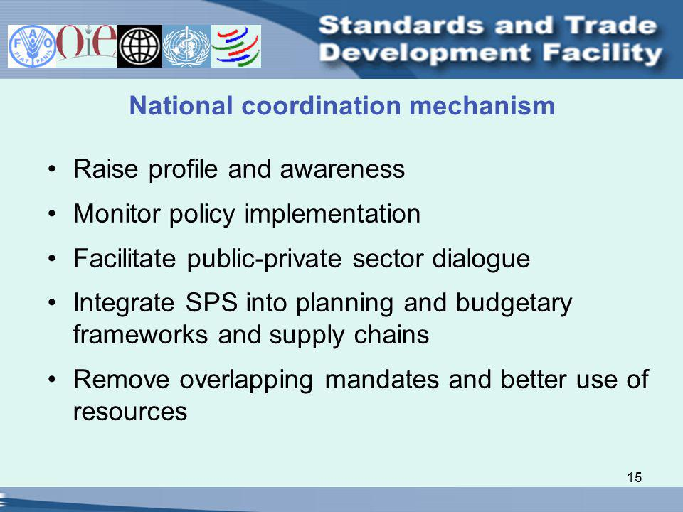 15 National coordination mechanism Raise profile and awareness Monitor policy implementation Facilitate public-private sector dialogue Integrate SPS into planning and budgetary frameworks and supply chains Remove overlapping mandates and better use of resources