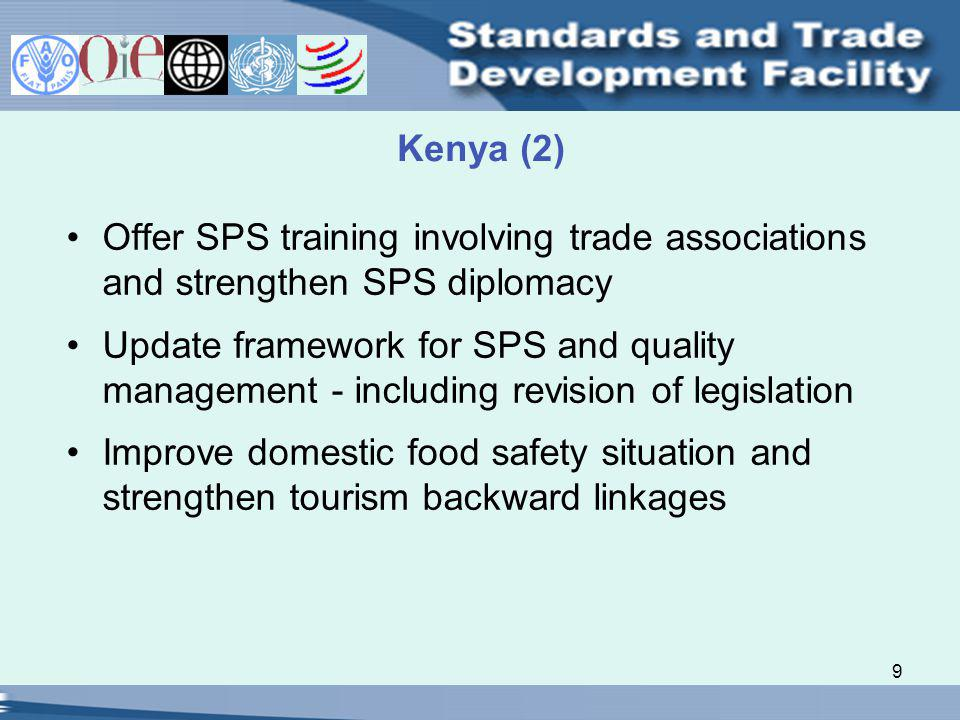 9 Kenya (2) Offer SPS training involving trade associations and strengthen SPS diplomacy Update framework for SPS and quality management - including revision of legislation Improve domestic food safety situation and strengthen tourism backward linkages