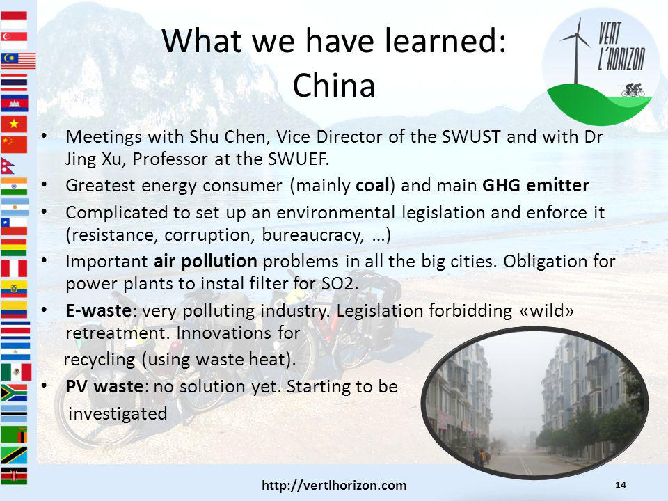 What we have learned: China Meetings with Shu Chen, Vice Director of the SWUST and with Dr Jing Xu, Professor at the SWUEF.
