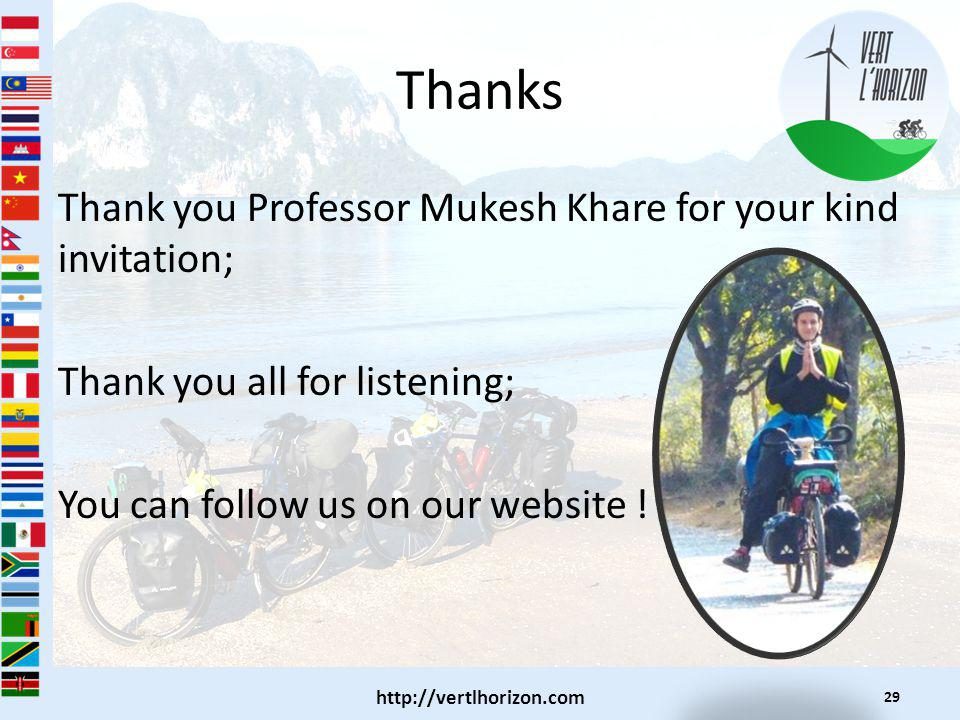 Thanks Thank you Professor Mukesh Khare for your kind invitation; Thank you all for listening; You can follow us on our website .