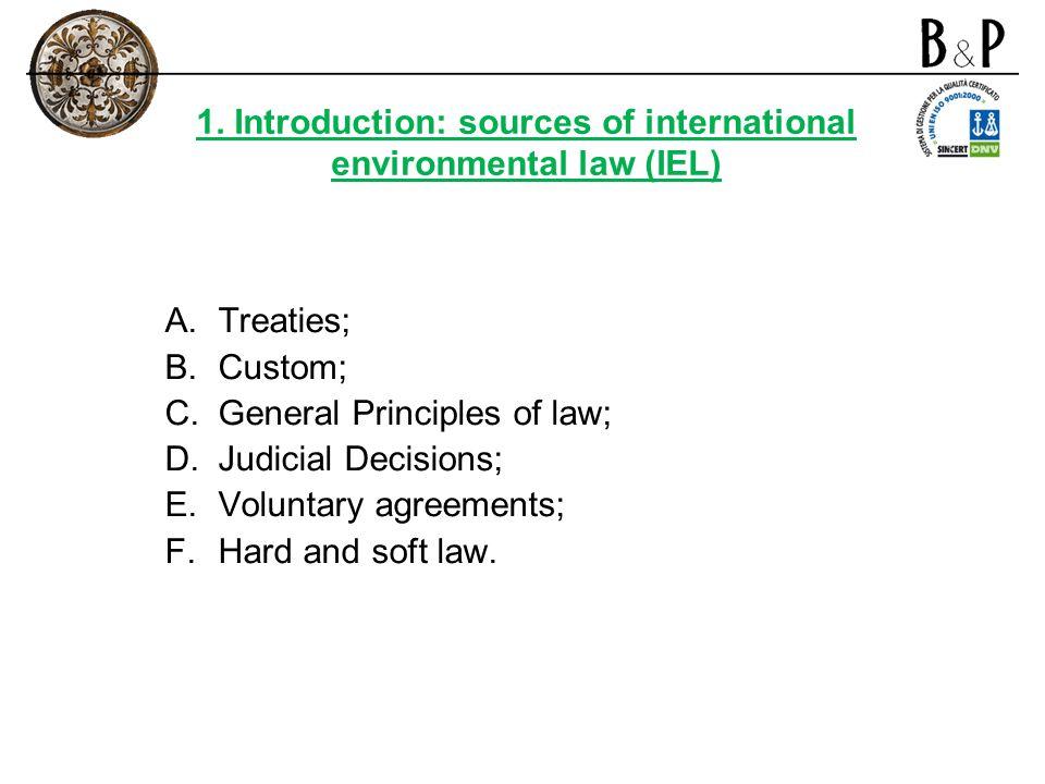 1. Introduction: sources of international environmental law (IEL) A.Treaties; B.Custom; C.General Principles of law; D.Judicial Decisions; E.Voluntary