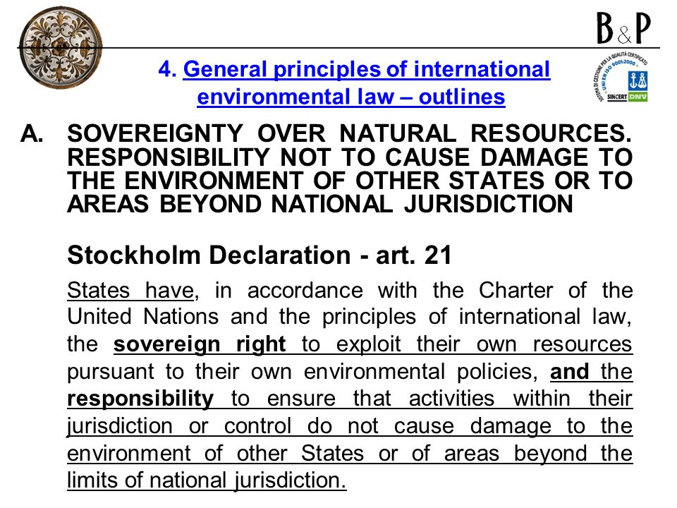A.SOVEREIGNTY OVER NATURAL RESOURCES. RESPONSIBILITY NOT TO CAUSE DAMAGE TO THE ENVIRONMENT OF OTHER STATES OR TO AREAS BEYOND NATIONAL JURISDICTION S