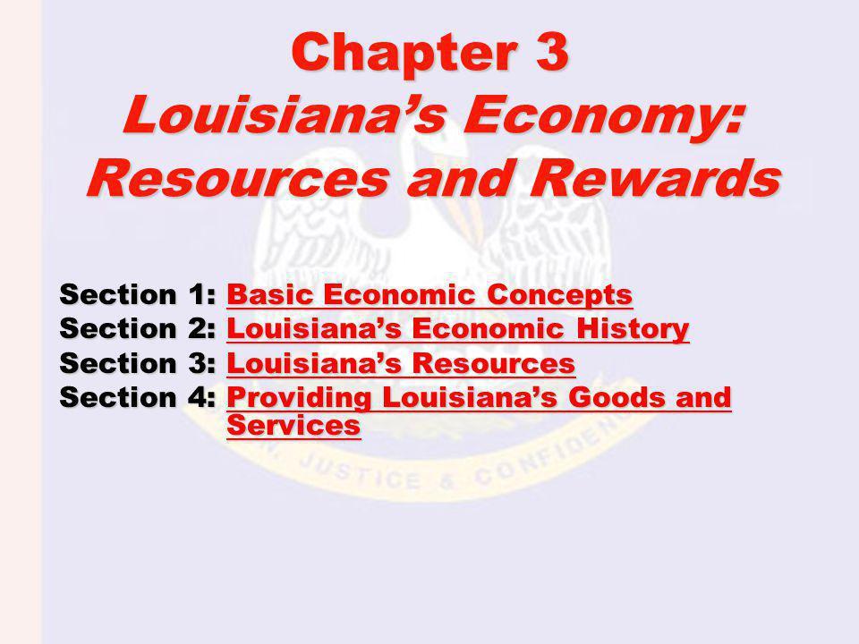 Chapter 3 Louisianas Economy: Resources and Rewards Section 1: Basic Economic Concepts Basic Economic ConceptsBasic Economic Concepts Section 2: Louis