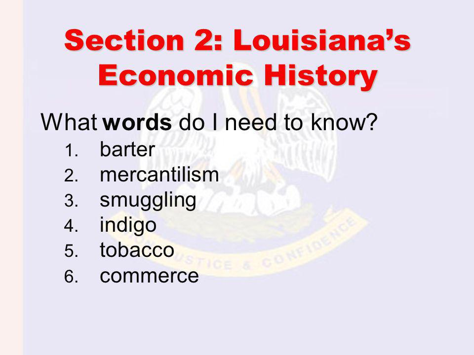 Section 2: Louisianas Economic History What words do I need to know.