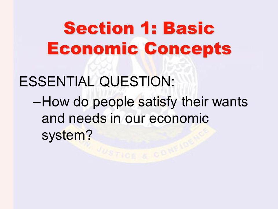 ESSENTIAL QUESTION: –How do people satisfy their wants and needs in our economic system.