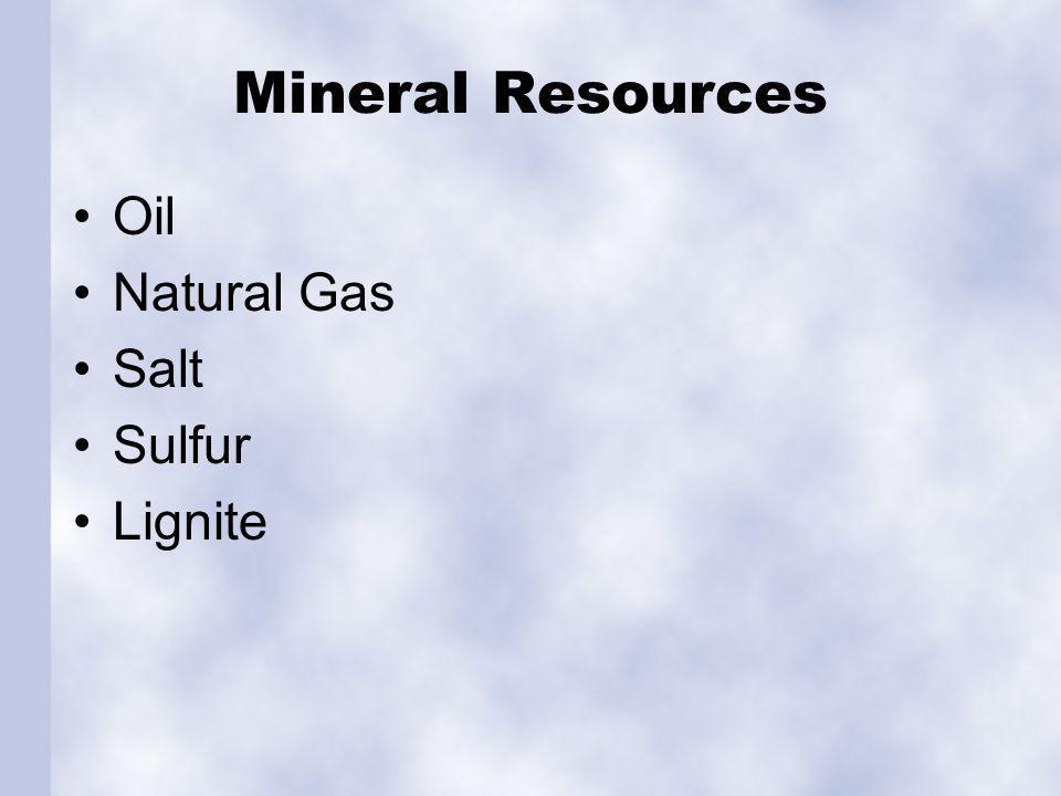 Mineral Resources Oil Natural Gas Salt Sulfur Lignite