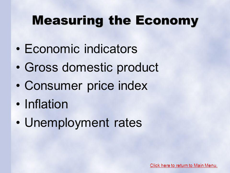 Measuring the Economy Economic indicators Gross domestic product Consumer price index Inflation Unemployment rates Click here to return to Main Menu.