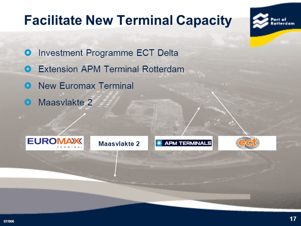 07/006 17 Facilitate New Terminal Capacity Investment Programme ECT Delta Extension APM Terminal Rotterdam New Euromax Terminal Maasvlakte 2