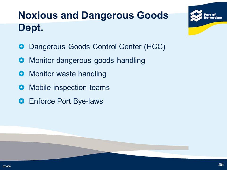 07/006 45 Noxious and Dangerous Goods Dept. Dangerous Goods Control Center (HCC) Monitor dangerous goods handling Monitor waste handling Mobile inspec