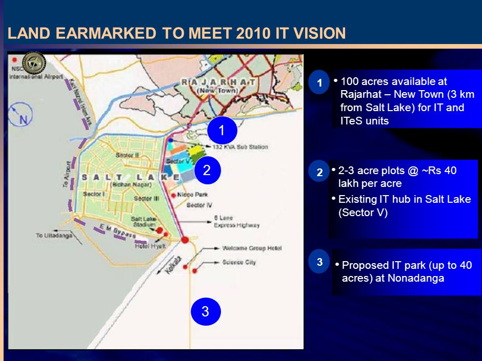 21 LAND EARMARKED TO MEET 2010 IT VISION Proposed IT park (up to 40 acres) at Nonadanga acre ~Rs 40 lakh per acre Existing IT hub in Salt Lake (Sector V) acres available at Rajarhat – New Town (3 km from Salt Lake) for IT and ITeS units