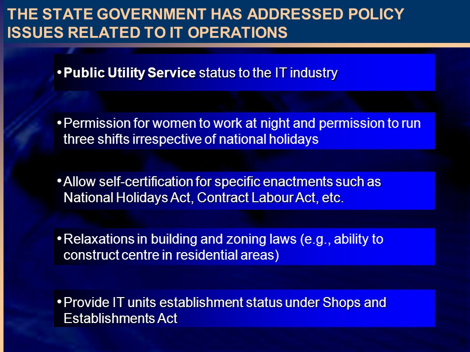 26 THE STATE GOVERNMENT HAS ADDRESSED POLICY ISSUES RELATED TO IT OPERATIONS Permission for women to work at night and permission to run three shifts irrespective of national holidays Allow self-certification for specific enactments such as National Holidays Act, Contract Labour Act, etc.