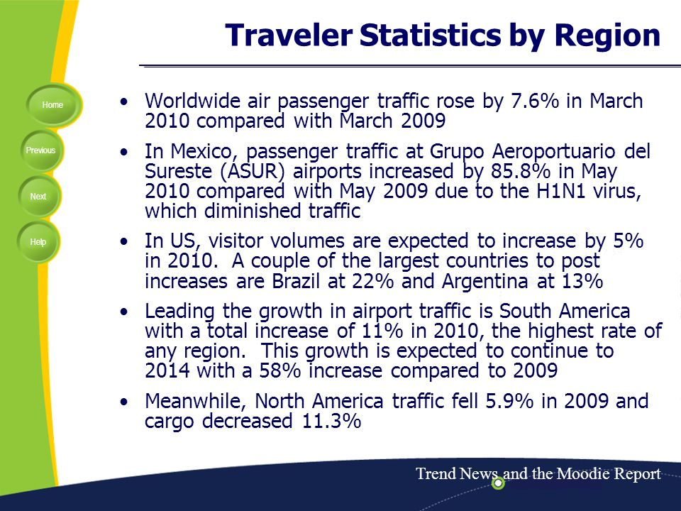 Home Previous Next Help Traveler Statistics by Region Worldwide air passenger traffic rose by 7.6% in March 2010 compared with March 2009 In Mexico, passenger traffic at Grupo Aeroportuario del Sureste (ASUR) airports increased by 85.8% in May 2010 compared with May 2009 due to the H1N1 virus, which diminished traffic In US, visitor volumes are expected to increase by 5% in 2010.