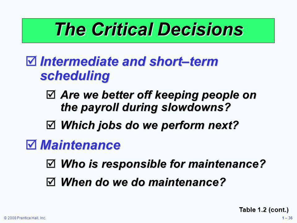 © 2008 Prentice Hall, Inc.1 – 36 The Critical Decisions Intermediate and short–term scheduling Intermediate and short–term scheduling Are we better of
