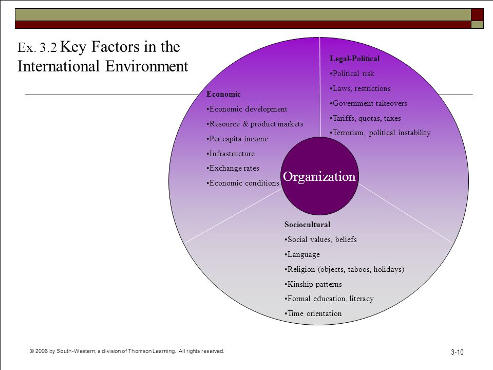 © 2006 by South-Western, a division of Thomson Learning. All rights reserved. 3-10 Organization Sociocultural Social values, beliefs Language Religion