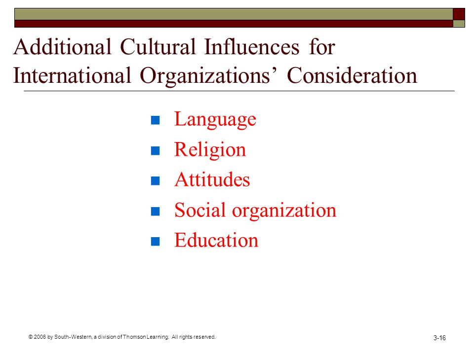 © 2006 by South-Western, a division of Thomson Learning. All rights reserved. 3-16 Additional Cultural Influences for International Organizations Cons