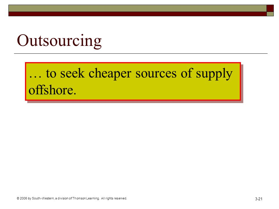 © 2006 by South-Western, a division of Thomson Learning. All rights reserved. 3-21 Outsourcing … to seek cheaper sources of supply offshore. … to seek