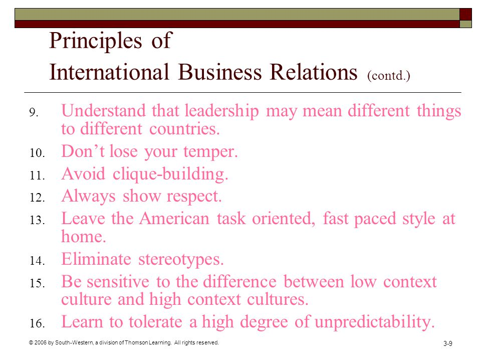 © 2006 by South-Western, a division of Thomson Learning. All rights reserved. 3-9 Principles of International Business Relations (contd.) 9. Understan