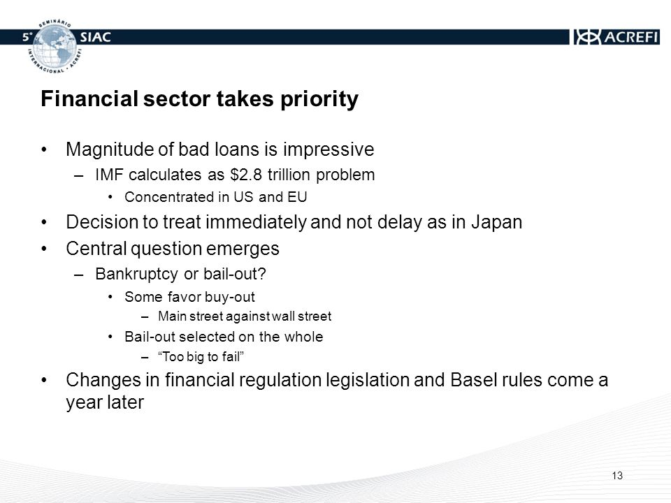 Financial sector takes priority Magnitude of bad loans is impressive –IMF calculates as $2.8 trillion problem Concentrated in US and EU Decision to treat immediately and not delay as in Japan Central question emerges –Bankruptcy or bail-out.