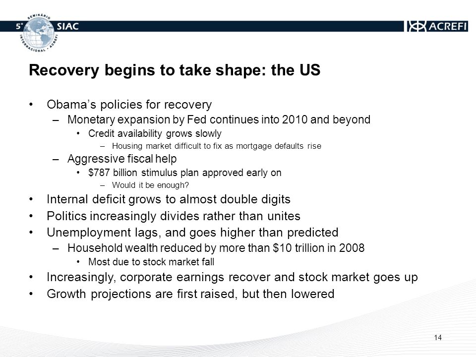 Recovery begins to take shape: the US Obamas policies for recovery –Monetary expansion by Fed continues into 2010 and beyond Credit availability grows slowly –Housing market difficult to fix as mortgage defaults rise –Aggressive fiscal help $787 billion stimulus plan approved early on –Would it be enough.
