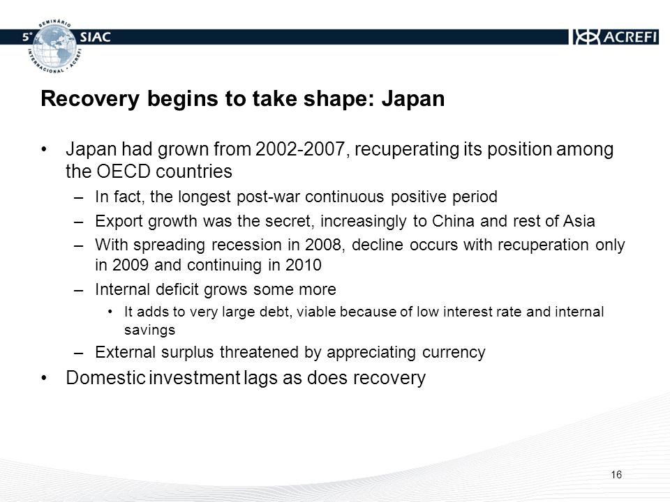 Recovery begins to take shape: Japan Japan had grown from 2002-2007, recuperating its position among the OECD countries –In fact, the longest post-war continuous positive period –Export growth was the secret, increasingly to China and rest of Asia –With spreading recession in 2008, decline occurs with recuperation only in 2009 and continuing in 2010 –Internal deficit grows some more It adds to very large debt, viable because of low interest rate and internal savings –External surplus threatened by appreciating currency Domestic investment lags as does recovery 16