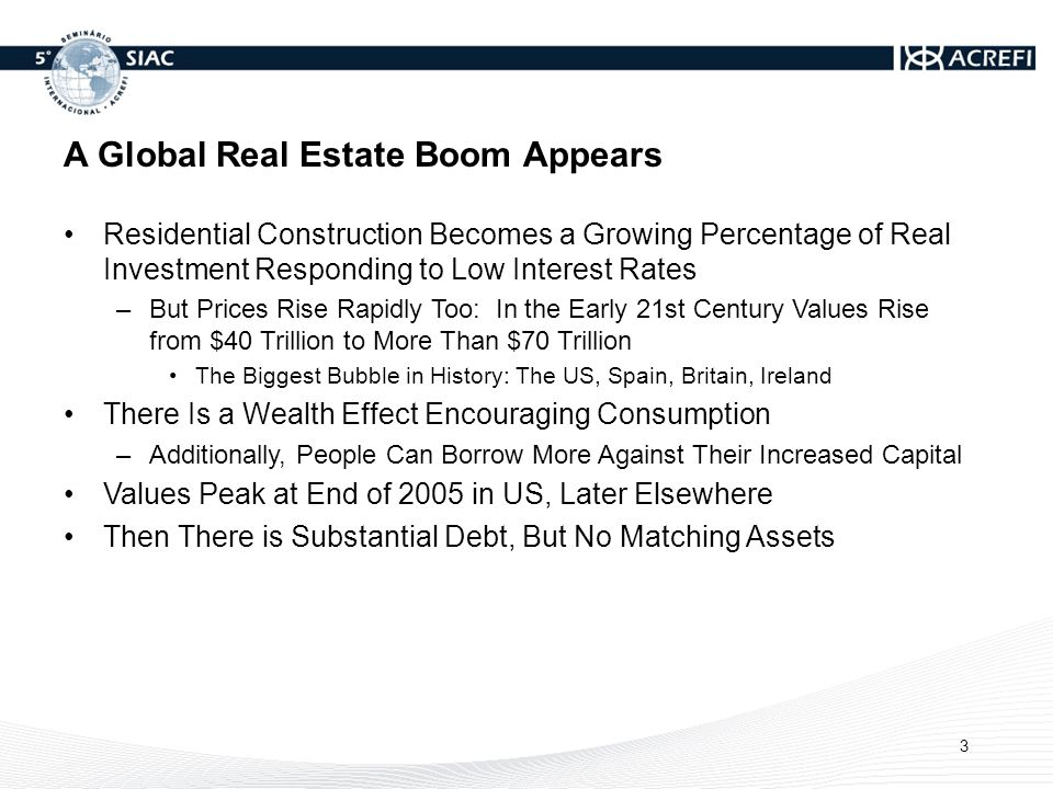 A Global Real Estate Boom Appears Residential Construction Becomes a Growing Percentage of Real Investment Responding to Low Interest Rates –But Prices Rise Rapidly Too: In the Early 21st Century Values Rise from $40 Trillion to More Than $70 Trillion The Biggest Bubble in History: The US, Spain, Britain, Ireland There Is a Wealth Effect Encouraging Consumption –Additionally, People Can Borrow More Against Their Increased Capital Values Peak at End of 2005 in US, Later Elsewhere Then There is Substantial Debt, But No Matching Assets 3
