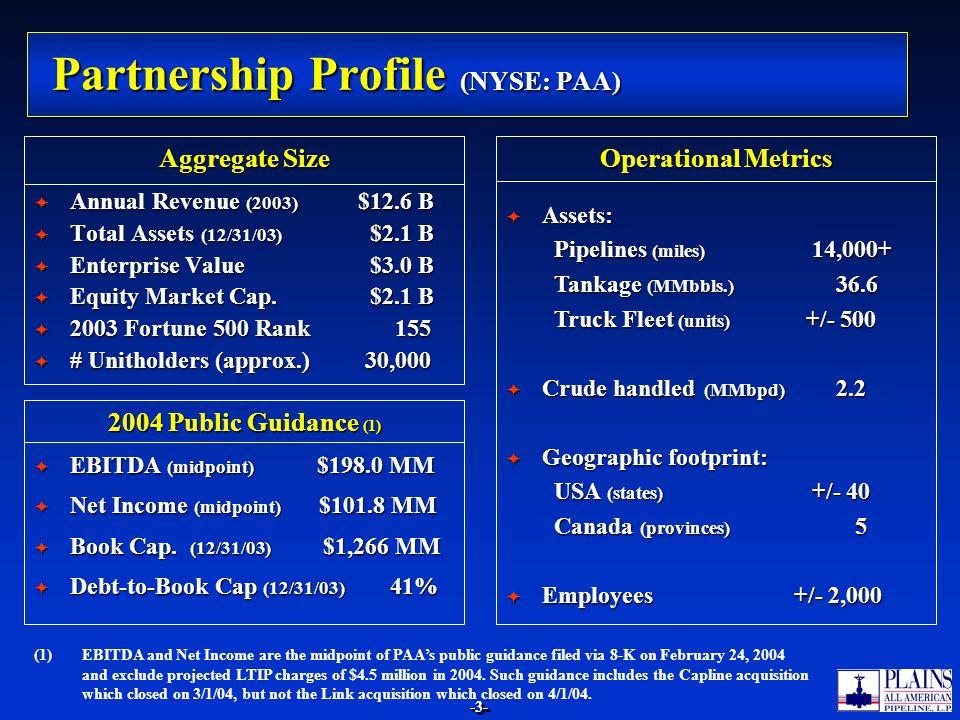-3--3- Partnership Profile (NYSE: PAA) Annual Revenue (2003) $12.6 B Annual Revenue (2003) $12.6 B Total Assets (12/31/03) $2.1 B Total Assets (12/31/