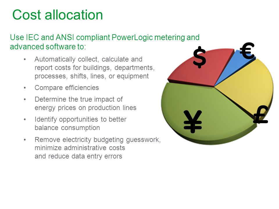 Cost allocation Use IEC and ANSI compliant PowerLogic metering and advanced software to: Automatically collect, calculate and report costs for buildings, departments, processes, shifts, lines, or equipment Compare efficiencies Determine the true impact of energy prices on production lines Identify opportunities to better balance consumption Remove electricity budgeting guesswork, minimize administrative costs and reduce data entry errors
