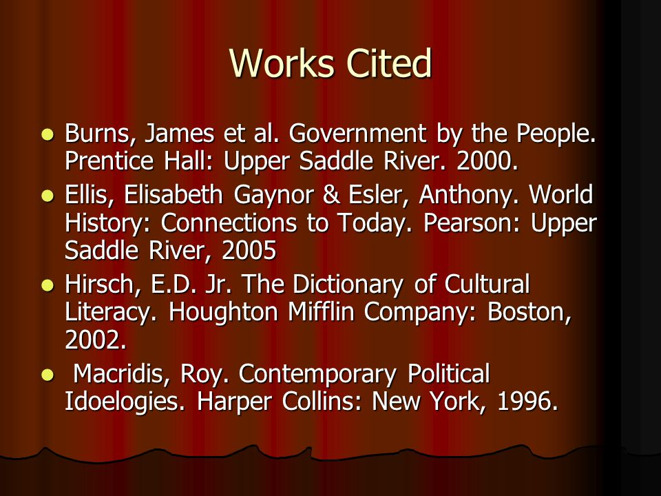 Works Cited Burns, James et al.Government by the People.