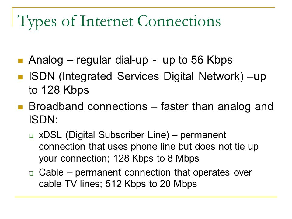 Types of Internet Connections Analog – regular dial-up - up to 56 Kbps ISDN (Integrated Services Digital Network) –up to 128 Kbps Broadband connections – faster than analog and ISDN: xDSL (Digital Subscriber Line) – permanent connection that uses phone line but does not tie up your connection; 128 Kbps to 8 Mbps Cable – permanent connection that operates over cable TV lines; 512 Kbps to 20 Mbps