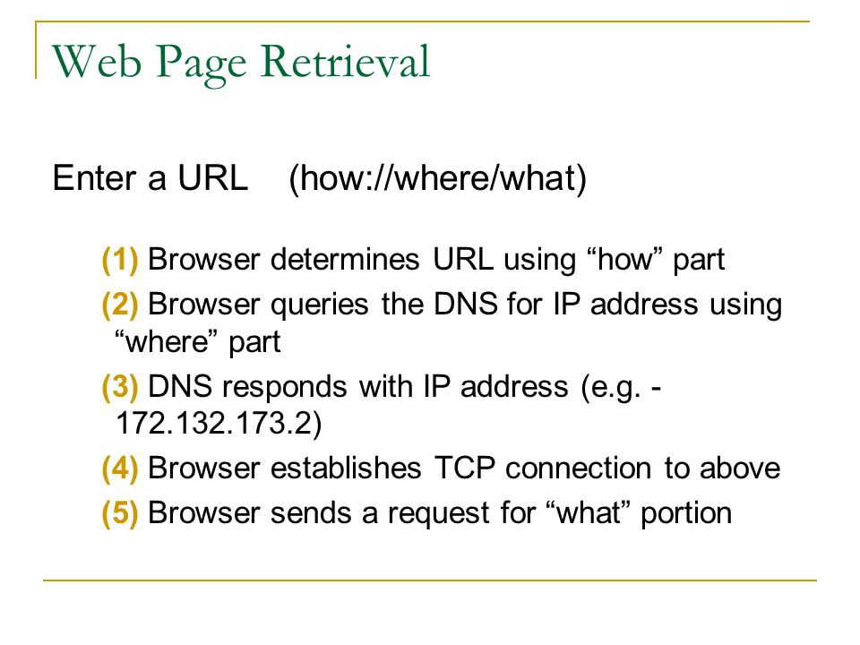 Web Page Retrieval Enter a URL (how://where/what) (1) Browser determines URL using how part (2) Browser queries the DNS for IP address using where par