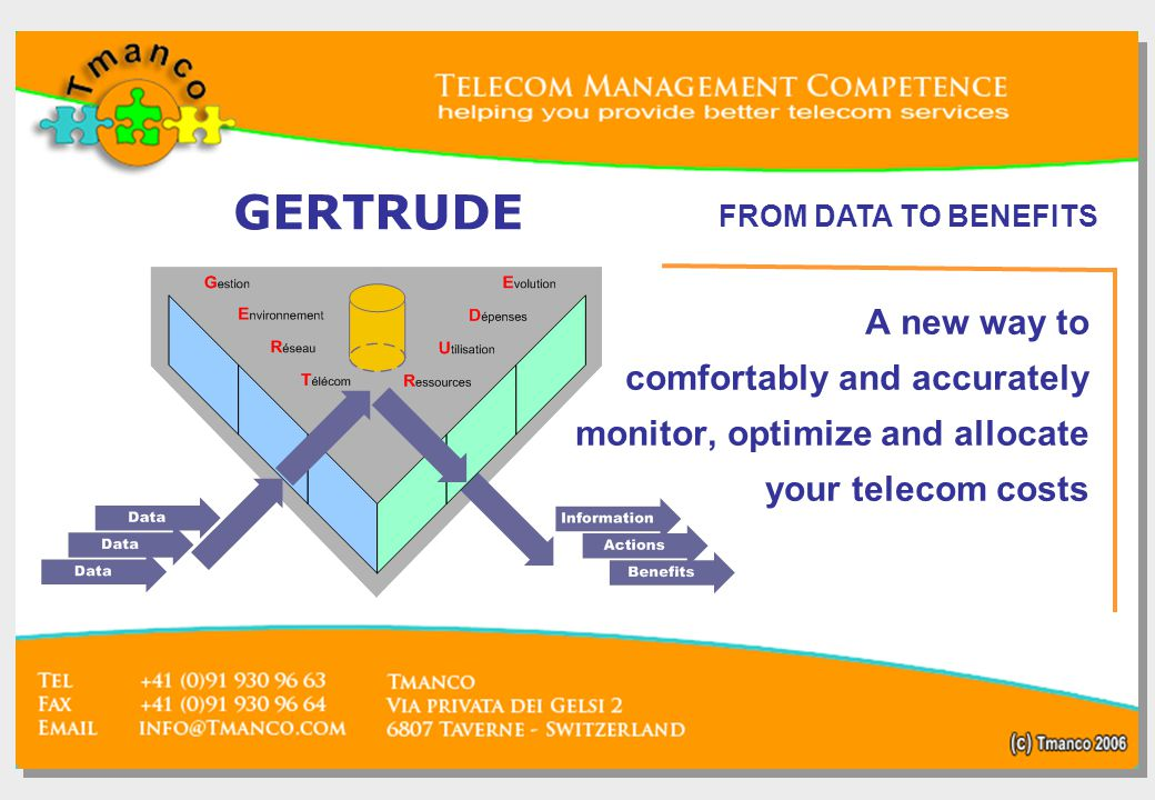 GERTRUDE - Solving your telecom-costs management challenge12Version 72e Next steps with Tmanco and GERTRUDE Initial spot-analysis and analysis-report Tmanco uses its expertise and GERTRUDE to perform an in-depth analysis of one or more services of your choice (fix telephony, mobile, both, etc.).