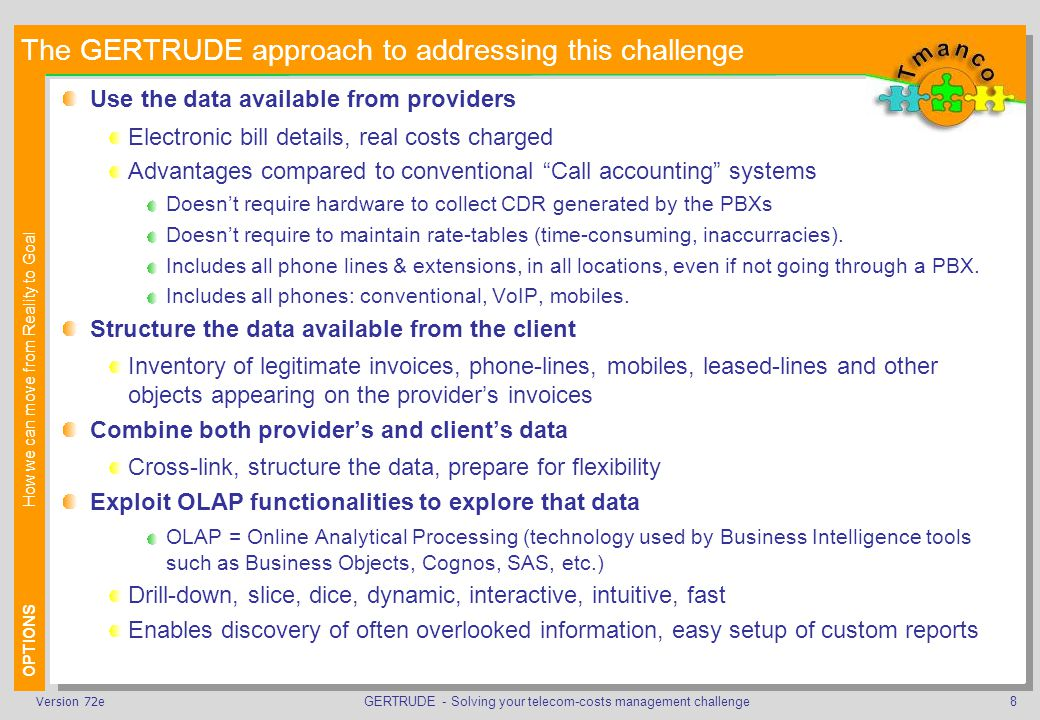 GERTRUDE - Solving your telecom-costs management challenge9Version 72e GERTRUDE turns your data into information More than just a tool: a process and activities assisted by a tool .