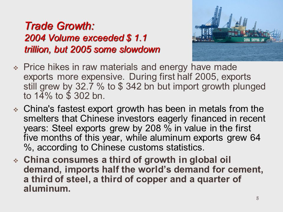 8 Trade Growth: 2004 Volume exceeded $ 1.1 trillion, but 2005 some slowdown Price hikes in raw materials and energy have made exports more expensive.