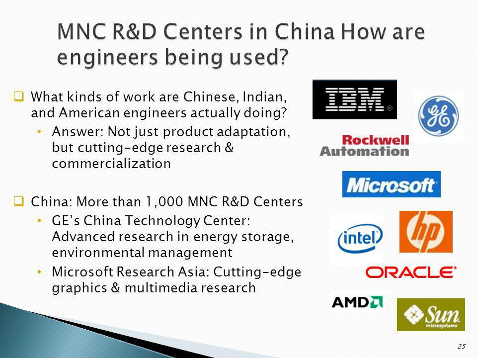 What kinds of work are Chinese, Indian, and American engineers actually doing.