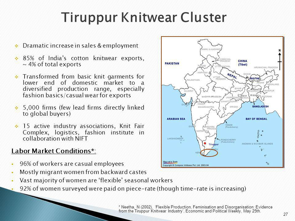 Tiruppur Knitwear Cluster Dramatic increase in sales & employment 85% of Indias cotton knitwear exports, ~ 4% of total exports Transformed from basic knit garments for lower end of domestic market to a diversified production range, especially fashion basics/casual wear for exports 5,000 firms (few lead firms directly linked to global buyers) 15 active industry associations, Knit Fair Complex, logistics, fashion institute in collaboration with NIFT Labor Market Conditions*: 96% of workers are casual employees Mostly migrant women from backward castes Vast majority of women are flexible seasonal workers 92% of women surveyed were paid on piece-rate (though time-rate is increasing) * Neetha, N (2002), Flexible Production, Feminisation and Disorganisation: Evidence from the Tiruppur Knitwear Industry, Economic and Political Weekly, May 25th.