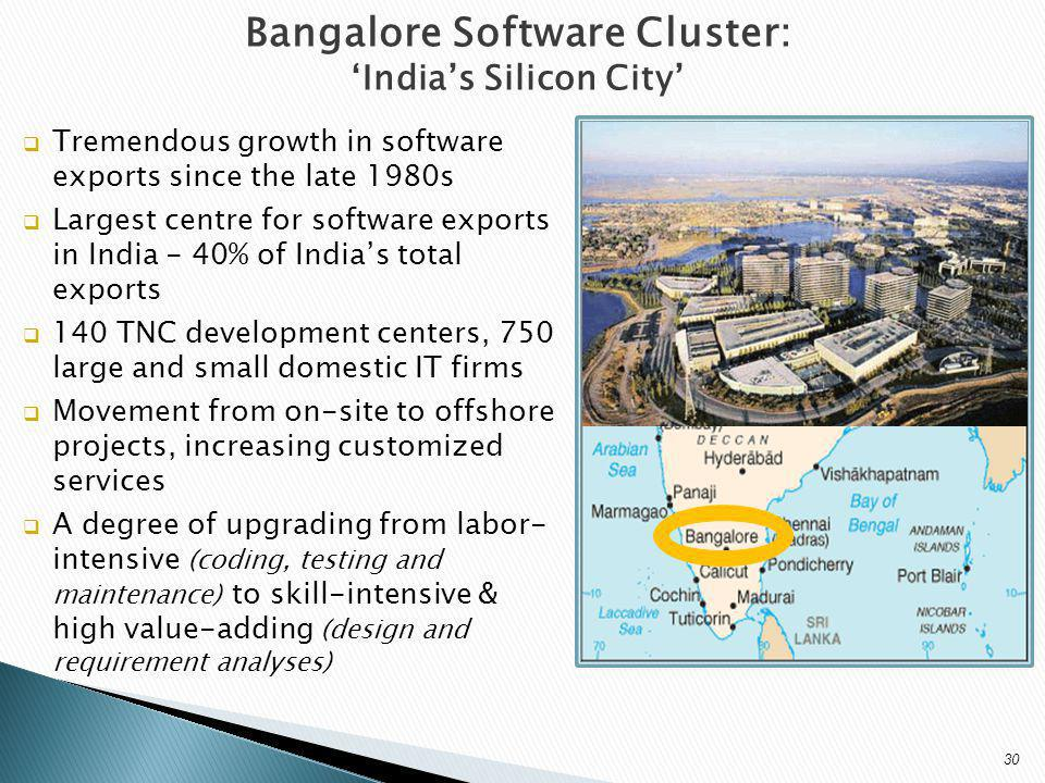 Bangalore Software Cluster: Indias Silicon City Tremendous growth in software exports since the late 1980s Largest centre for software exports in India - 40% of Indias total exports 140 TNC development centers, 750 large and small domestic IT firms Movement from on-site to offshore projects, increasing customized services A degree of upgrading from labor- intensive (coding, testing and maintenance) to skill-intensive & high value-adding (design and requirement analyses) 30