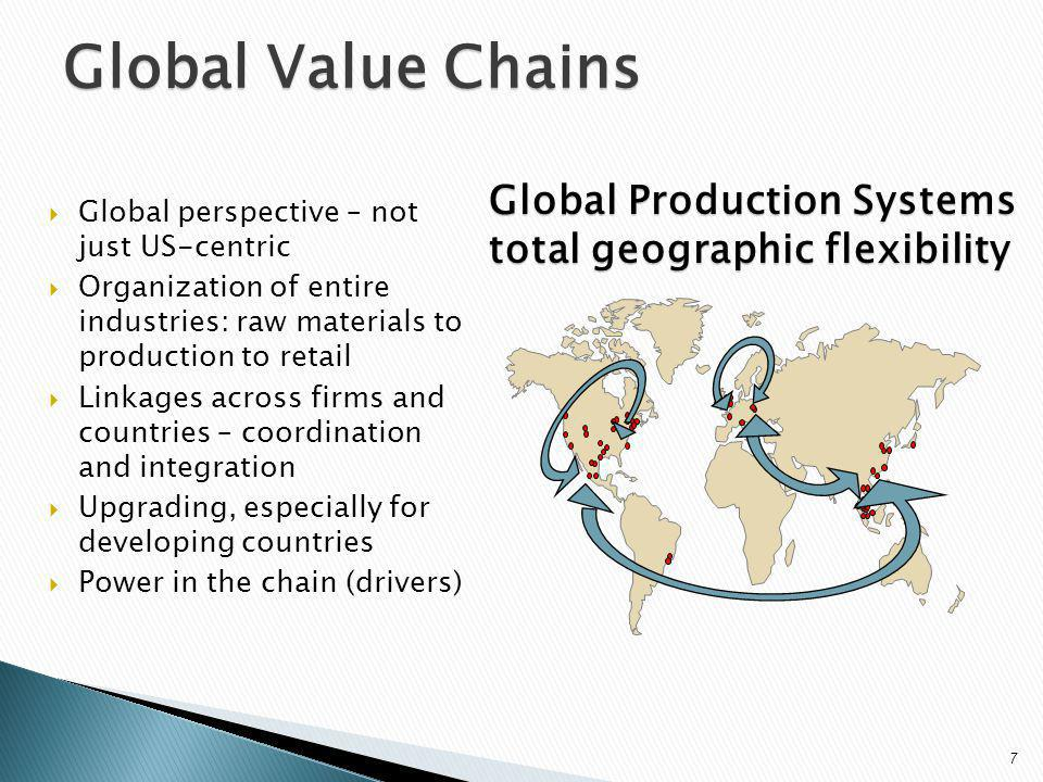 Global Value Chains Global perspective – not just US-centric Organization of entire industries: raw materials to production to retail Linkages across firms and countries – coordination and integration Upgrading, especially for developing countries Power in the chain (drivers) Global Production Systems total geographic flexibility 7