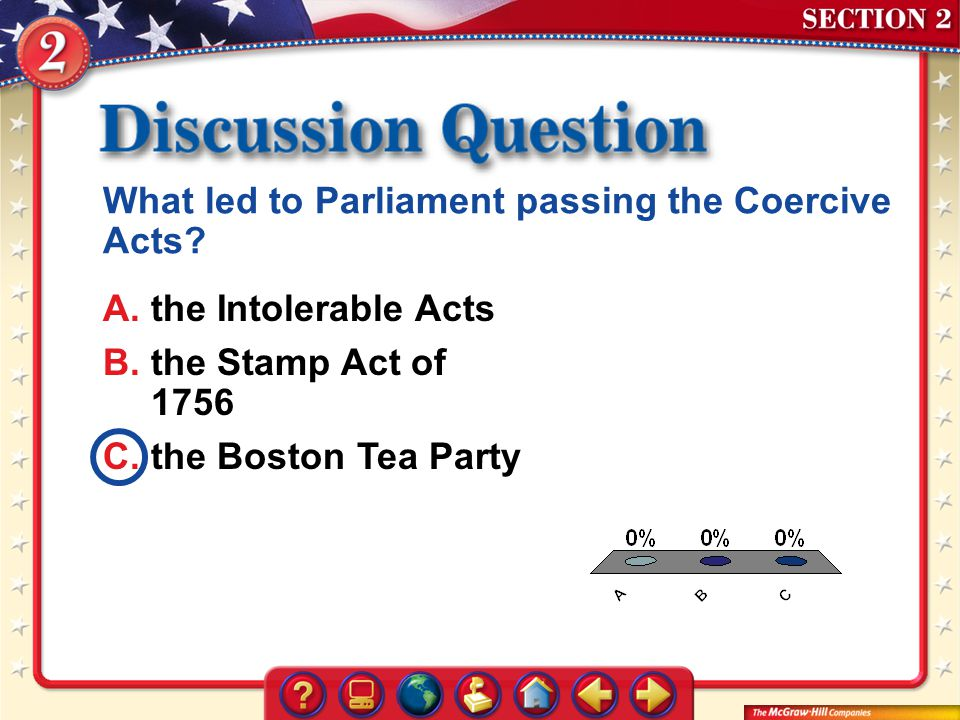 A.A B.B C.C Section 2 – DQ1 What led to Parliament passing the Coercive Acts? A.the Intolerable Acts B.the Stamp Act of 1756 C.the Boston Tea Party