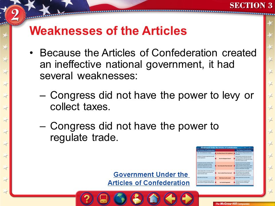 Section 3 Weaknesses of the Articles Because the Articles of Confederation created an ineffective national government, it had several weaknesses: –Con